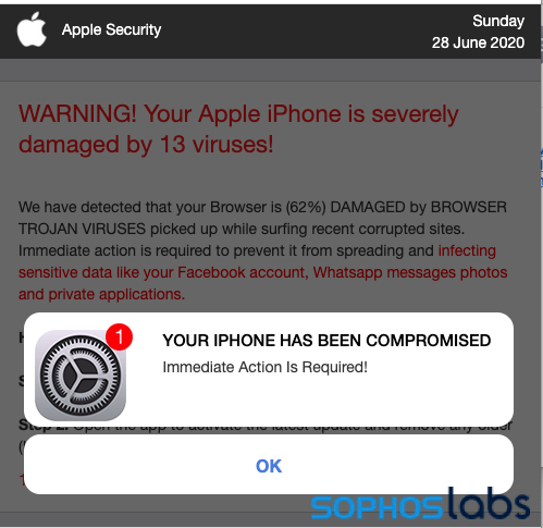 Fake Alert - iphone-compromised